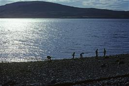 Skimming stones on the beach at Raasay