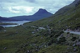 Heading west from Drumrunie, with Stac Pollaidh in the distance