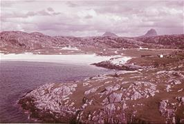 A purchased slide of Achmelvich beach with the hostel in the distance