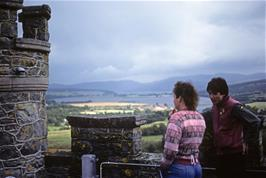 The assistant warden talks to Andrew Billington on Carbisdale Castle's tower